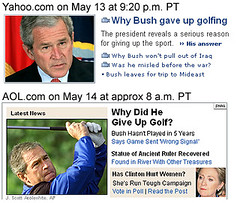 "Link to Yahoo! News/Politico Bush interview - ""Why I gave up golf"" clip"
