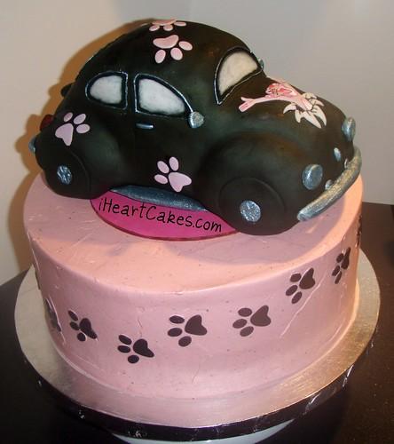 Volkswagen Beetle Pink. Pink Panther VW Beetle Cake -