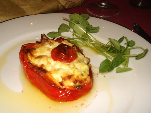 Roast capsicum stuffed with pesto & ricotta