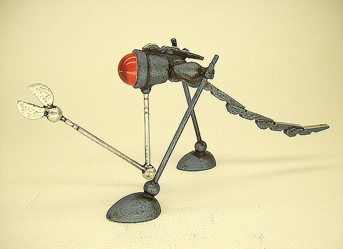 Blue Snipper Robotosaurus Wood Retro Robot Miniature Statue with Tail