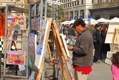 Street artist at the Plaza de Armas