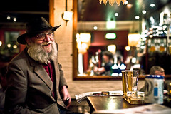 The Ubiquitous Chip (TGKW) Tags: old portrait people white man hat bar night beard lights glasses pub bokeh glasgow candid chip nightlife ubiquitous