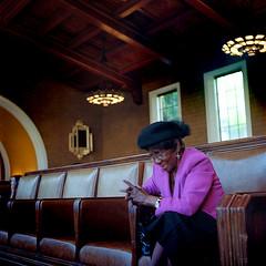 Los Angeles, CA (Rachel Labrucherie) Tags: ca light portrait color 120 6x6 film mediumformat square losangeles downtown kodak posed negativespace trainstation unionstation alameda yashica twinlensreflex 160 environmentalportrait