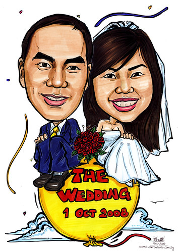 Couple wedding caricatures on balloon A4