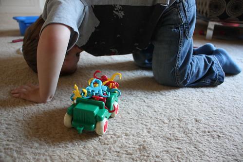 Boy bridge + car + monkeys