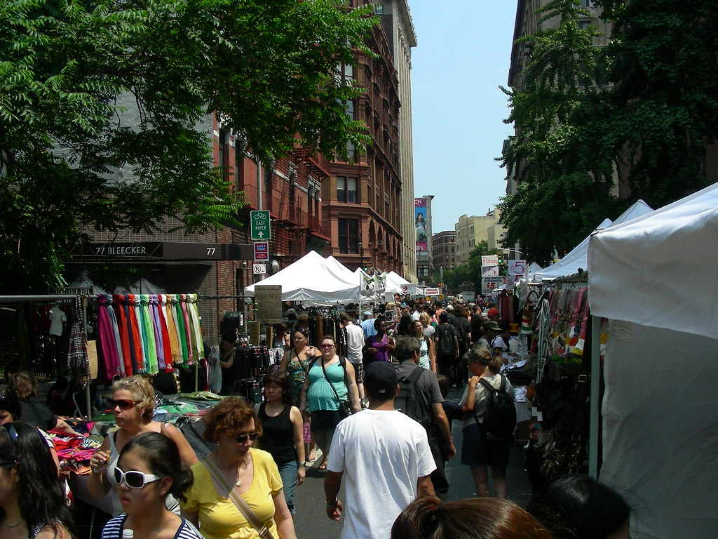 This flea market-like collection of booths ran the length of Bleeker St