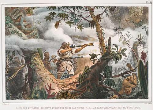 006-Salvajes civilizados-soldados de Mugi das Cruzas (Province de St. Paul) combatiendo a los Botocoudos