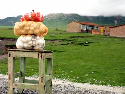 Mushrooms for sale on roadside on Qinghai Highway 204, Qinghai Province, China