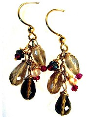 Earrings : Smoky Topaz Teardrops with Garnet and Clear Quartz (CRAVEBEAUTY) Tags: original red brown gold jewelry va 14k earrings smoky teardrop gem gf garnet topaz labradorite gemstone facet crave rondelle cravebeauty cyndymcc sunnyreston