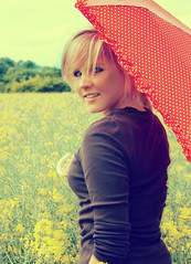4167 (miah.) Tags: red girl smile field yellow umbrella young naturallight polka retro polkadots blonde dots rapeseed coleseed