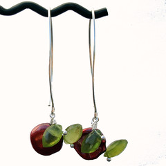 Cherries (brokenteepeedesigns) Tags: red green cherry cherries jewelry pearls earrings sterlingsilver vesuvianiteidocrase