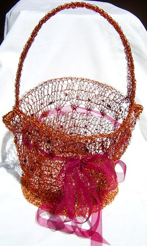Copper crocheted evening bag 1
