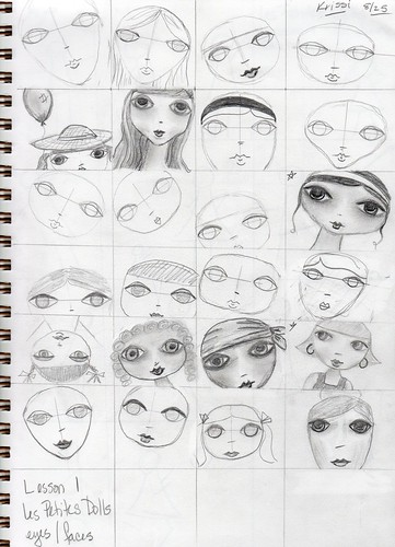 Homework - eyes, lining up a face, beg. shading