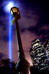Tribute in Light (laverrue) Tags: nyc blue light lamp night clouds blog remember manhattan no worldtradecenter 911 financialdistrict memory laser blogged wtc tribute remembered september11 groundzero tributeinlight ground0 bluelaser abigfave platinumphoto superaplus aplusphoto betterthangood damniwishidtakenthat saturdayscribes celticharper
