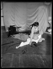 Jiu-Jitsu for Women (George Eastman House) Tags: woman studio chair women martialart geisha jiujitsu fighting georgeeastmanhouse femalewrestling color:rgb_avg=5c5c5c williammvanderweyde geh:accession=197400560925