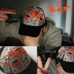 Friday night ChombaCap (Stick-A-Thing_____S_____ A_____T) Tags: orange berlin illustration paint photobooth gorro handmade grau cap marker sat custom weiss schwarz mtze posca textilfarbe stickathing