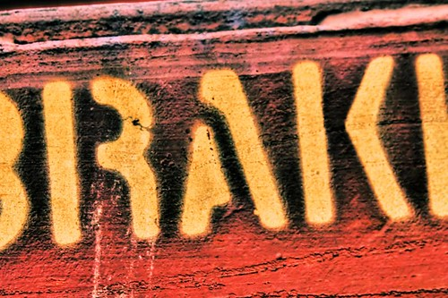 RAK - stenciled letters on a train in Stayton Oregon