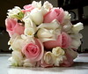 pink flowers pink bouquet white bouquet wedding photo
