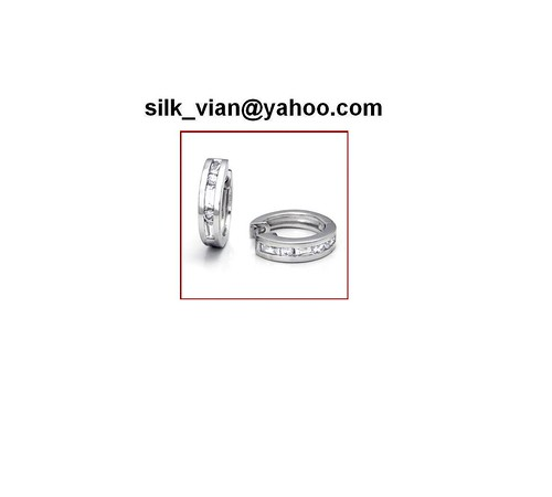 Men's sterling silver CZ hy earrings bling