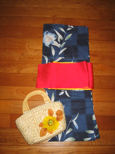 Navy UNIQLO yukata coordinate - Bright