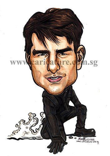 Celebrity caricatures - Tom Cruise colour watermark