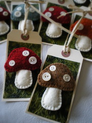 ready to go (lilfishstudios) Tags: mushrooms pin handmade sewing brooch craft packaging toadstools repurposed vintagebuttons feltedwool handmadefelt lilfishstudios feltedwoolsweater