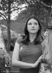 Sarah  #2 (Mike Wood Photography) Tags: trees portrait bw woman girl beautiful face sarah outdoors eos pretty natural fresh arr birch teeshirt allrightsreserved mikewood 400d aplusphoto mikewoodphotographycom mikewoodphotography