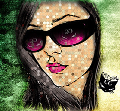 I Saw (( CAT GIRL )) somewhere !! (  T_ !  ) Tags: pink woman black cute girl face cat glasses design paint q8