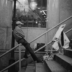 365-33 Painter (adamchan25) Tags: show life china street camera old autumn portrait blackandwhite bw hk white man black male art 120 6x6 tlr film public lamp monochrome night rollei rolleiflex mediumformat pose painting paper asian hongkong prime mono blackwhite cool asia stair paint artist antique iso400 live candid traditional snapshot central grain working steps chinese stall oldman monotone retro hong kong step human painter medium format filmcamera draw 2008 ilford bitter automat concentrate c41 tessar rocksteps portinger portingerstreet