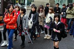 H&M Line & Japanese Schoolgirl (tokyofashion) Tags: blue fashion japan tokyo uniform line harajuku opening hm japaneseschoolgirl grandopening tokyofashion hmharajuku