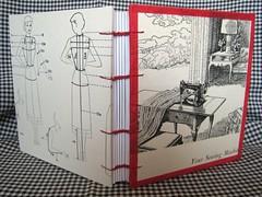 sewing journal1 (PrairiePeasant) Tags: canada fashion notebook book recycled handmade sewing journal sewingmachine bound bookbinding coptic bookarts handbound copticbound
