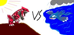 Groudon vs Kyogre (Crash Cortex) Tags: paint drawing ms pokemon ruby battles groudon kyogre shappire