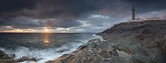 Ardnamurchan Lighthouse (verdantvista.com) Tags: ocean blue light sunset sea sky panorama orange cloud sun lighthouse seascape reflection nature water clouds landscape coast scotland nikon rocks dri ardnamurchan sigma1020