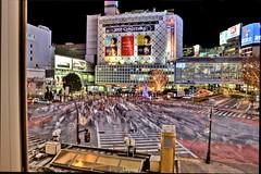 Shibuya from Starbucks (Paul Cowell) Tags: people japan lost tokyo crossing nightshot shibuya translation busy starbucks hdr