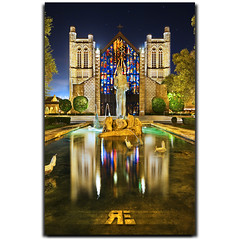 St. Andrews Cathedral (Ryan Eng) Tags: longexposure sky reflection church water night stars lights hawaii oahu tripod symmetry honolulu frontpage dri stainedglasswindow photoshopcs2 sigma1020mm saintandrewscathedral interestingnesspage digitalblending explore4 nikond90 ryaneng ryausting