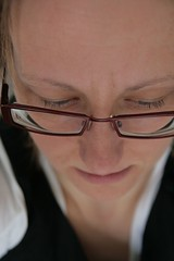 Self portrait with red glasses (Claire Wroe) Tags: red portrait woman selfportrait home me face self mouth manchester nose glasses eyes dof head sp spectacles