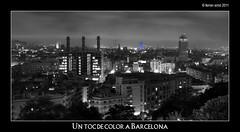 Un toc de color a Barcelona (Ferranet) Tags: barcelona blackandwhite bw panorama blancoynegro night cutout noche olympus bn panoramica catalunya chimeneas nit fecsa agbar blancinegre e510 xemeneies zd18180