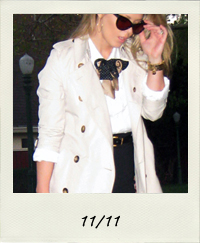 burberry trench coat, black bandage skirt, white button down, vintage silk bow ties, point toe pumps, 11-11 outfit+what I wore