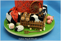 Farm-barn-yard-cake-04 (Cakes.KeyArtStudio.com) Tags: red horse dog white house black rabbit green chicken animals cake kids barn yard fence children pig cow cowboy village child farm montreal country cock chick western lamb piglet bandana hen fondant gumpaste cowprint sugarpaste larissavolnitskaia keyartstudio