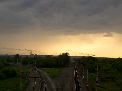 Factory clouds + trains