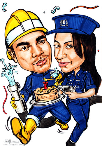 Couple caricatures Fireman Police Woman birthday