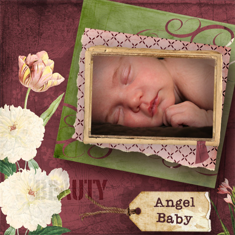 Angel Baby Scrapbook Page