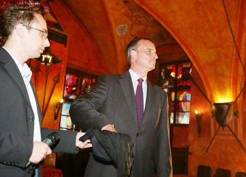 GalaOpening - drawing lots - Matocha and Jiri Pacovsky manager of CEZ
