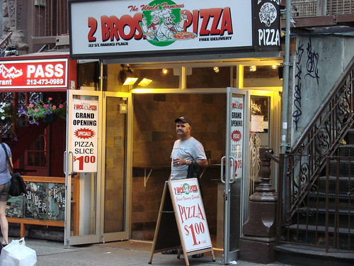 2 Bros Pizza in the Village, home of the 1 buck slice (by nycblondieandbrownie)
