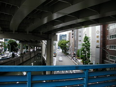 from the pedestrian bridge in front of iidabashi station