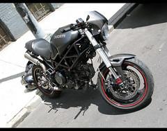 Brooklyn Ducati Monster (bardo333) Tags: city nyc summer italy bike monster skyline brooklyn clouds james italian manhattan johnson motorcycle motogp custom ducati greenpoint hdr duc motorcyle