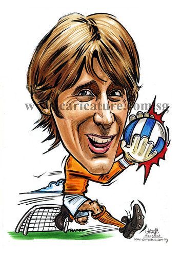 Caricature of Edwin Van Der Sar colour watermark
