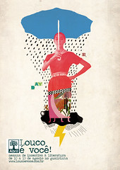 Cartaz Editora Abril (guilherme lepca) Tags: brazil woman storm rain collage brasil illustration umbrella vintage book design crazy 60s day hand handmade abril chuva literature made latin 50s colagem ilustrao thunder literatura co2 louco raio lepca