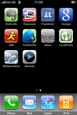 iPhone 2.0 screenshot: Applications