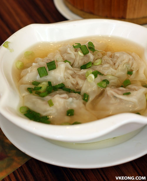 minced meat and vegetable wantan soup